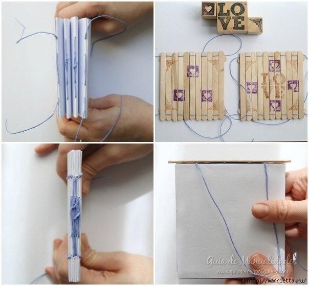 Записная книжка детскими руками с обложкой из палочек от мороженого