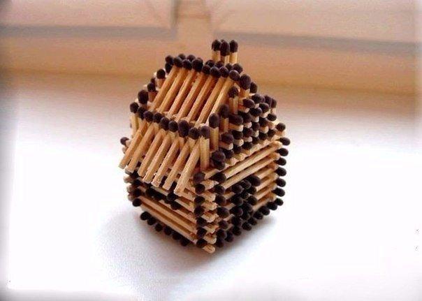 Последовательность сборки спичечного домика