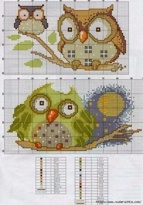 Очаровательные схемы с совами для детской вышивки