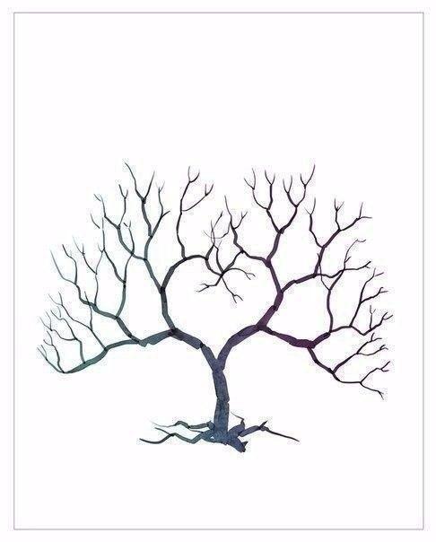 Рисуем листву дерева отпечатками пальцев 5