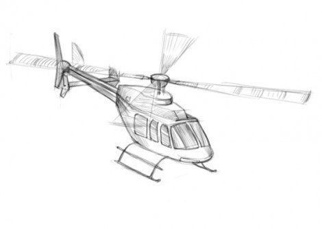 Урок рисования: вертолет карандашом