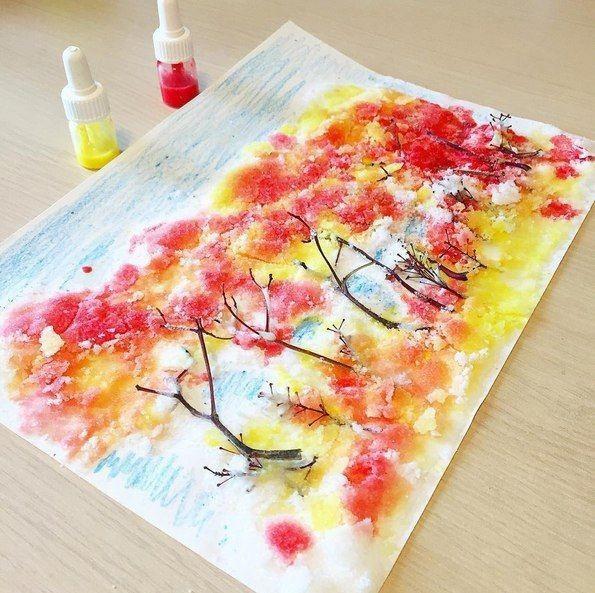 Осенний лес в необычной технике рисования
