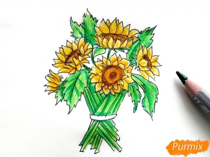 Рисуем букет подсолнухов цветными карандашами