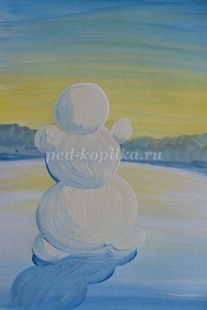 Снеговик гуашью
