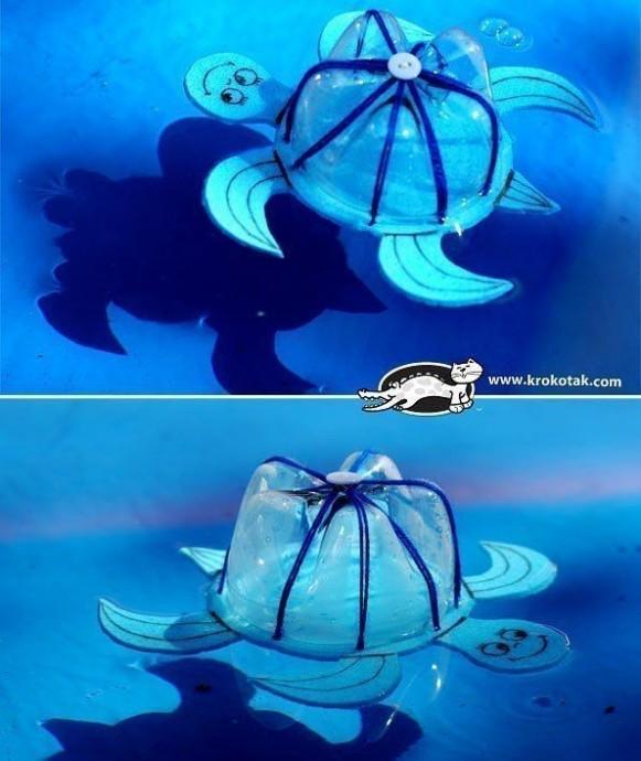 Черепашка-копилка из пластиковой бутылки