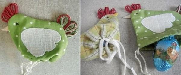 Декоративные курочки-сумочки для пасхального стола