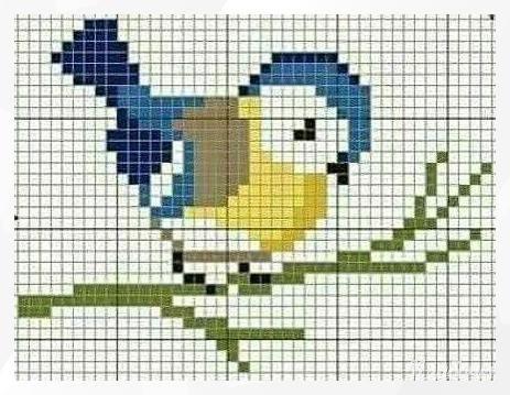 Простая вышивка птичек для детей