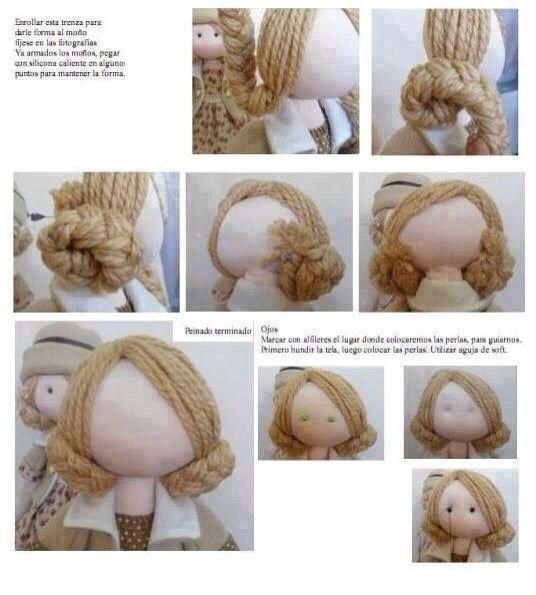 Волосы из пряжи для кукол 1