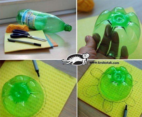Черепашка из прорезиненной тряпки для стола и донышка пластиковой бутылки