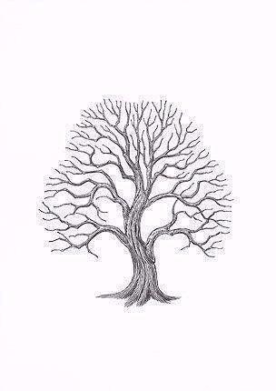 Рисуем листву дерева отпечатками пальцев 2