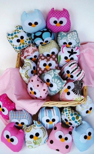 Забавные мягкие игрушки совушки с шаблоном