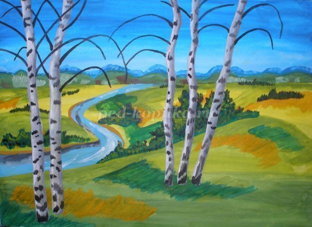 Рисуем с детьми гуашью летний пейзаж