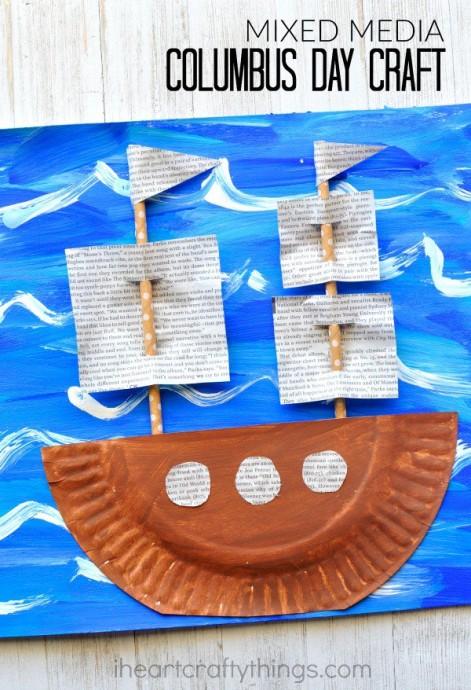 Кораблик из одноразовой тарелки и газет