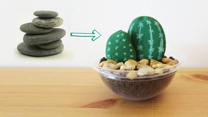 Рисуем кактусы из камней