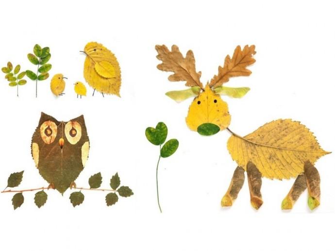 Рисунки из листьев в картинках