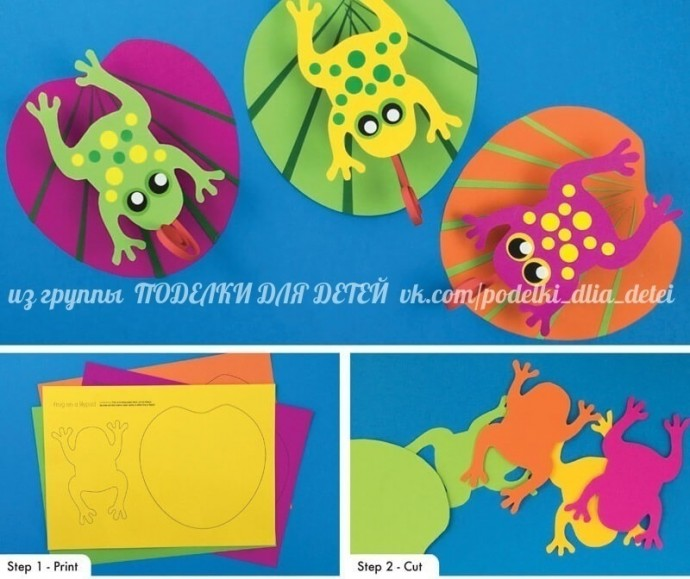 Лягушки-попрыгушки на бумажной пружинке