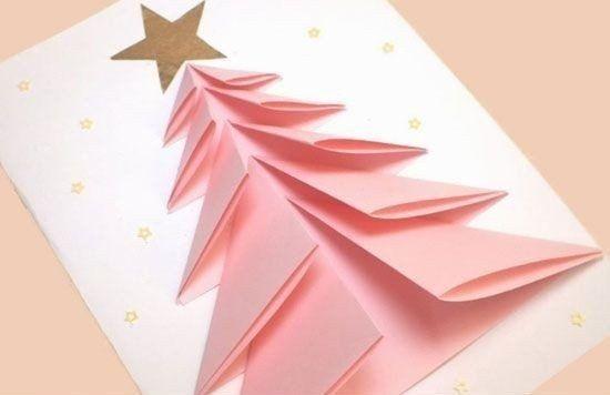 Объемная новогодняя елочка в нежных тонах