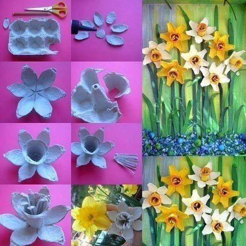 Делаем с детьми цветы из картонных лотков