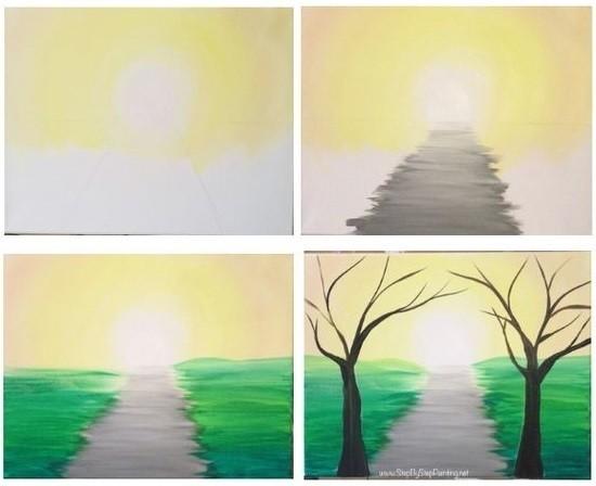 Рисуем с детьми дорожку между деревьев