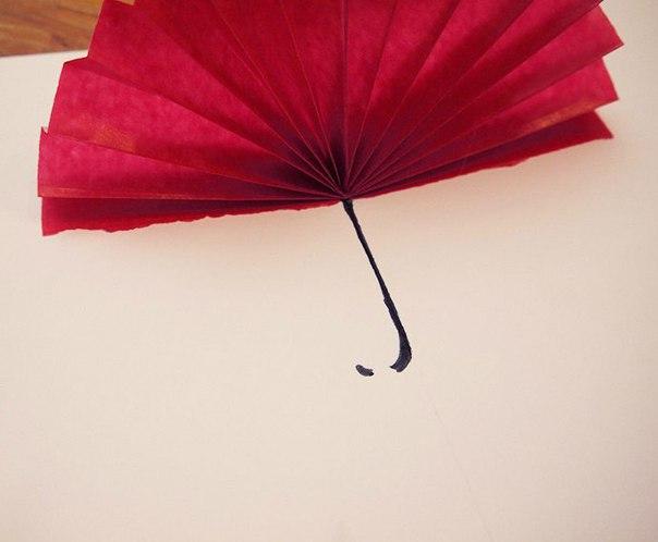 """Объемная открытка """"Девочка под зонтом"""""""