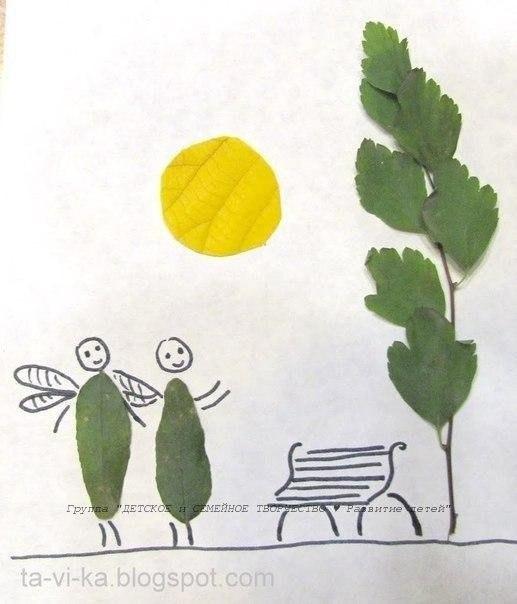 Забавные рисунки и аппликации с использованием листьев