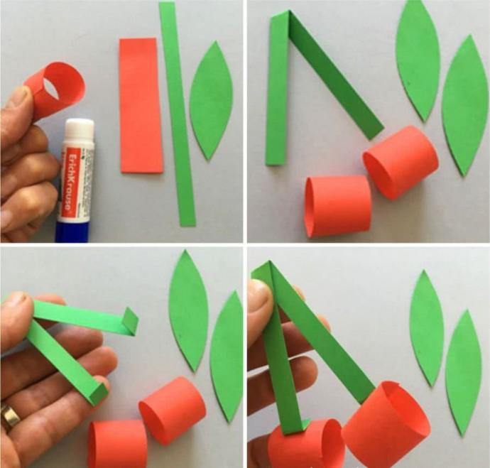 Вишенки из цветной бумаги