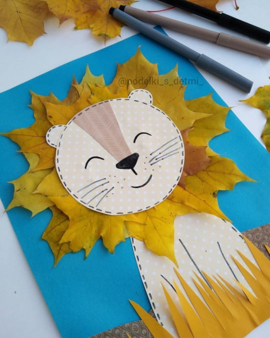 Забавный львёнок из природного материала и бумаги