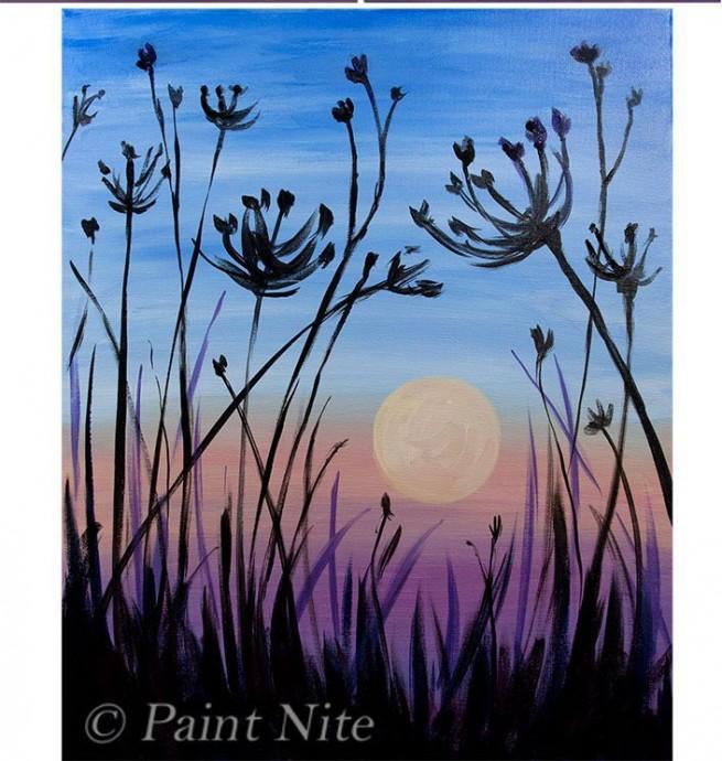 Рисуем с детьми закат солнца в поле