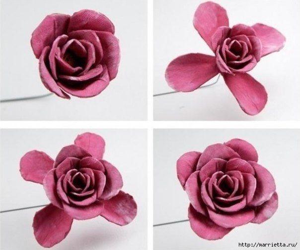 Крaсивая роза из яичных лотков
