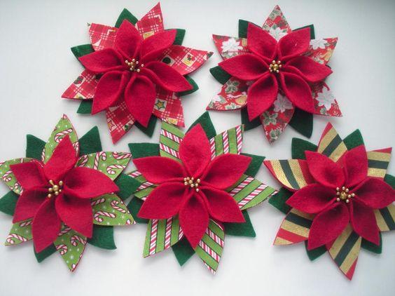Рождественская пуансетия из фетра 4