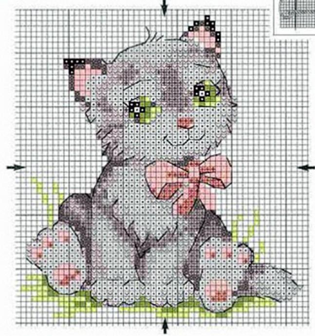 Схемы вышивки котиков с детьми 3