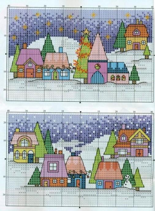 Вышиваем яркие домики