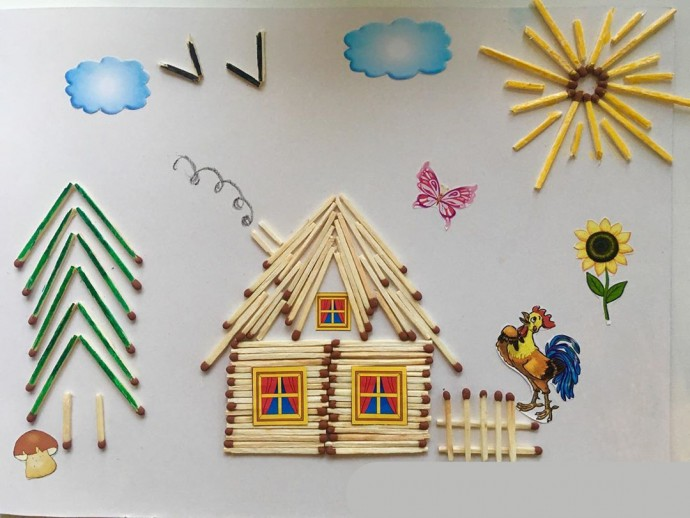 Аппликация из спичек: идеи для детского творчества