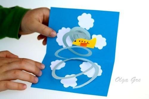 Объемная открытка с самолетом