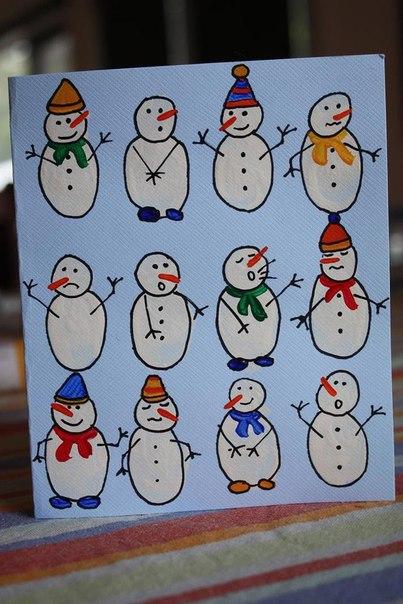 Рисуем снеговиков пальчиками 3