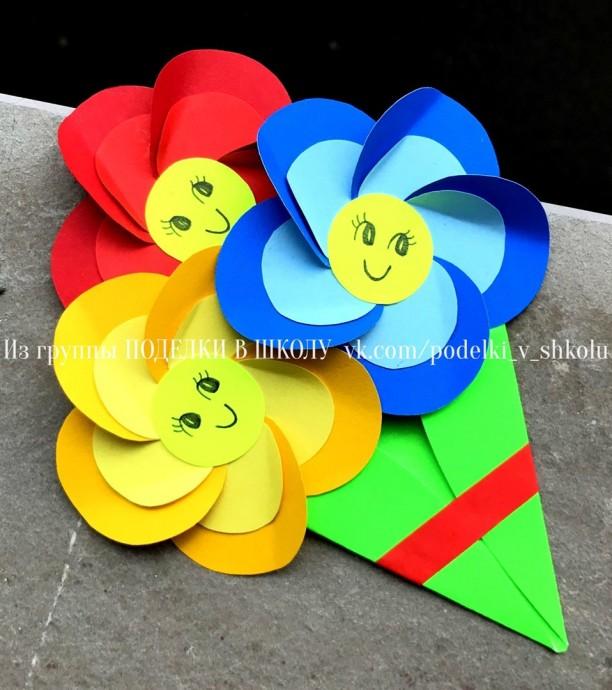 Объемный букет с веселыми цветочками