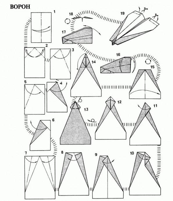 Много видов самолетиков из листов бумаги с названиями моделей