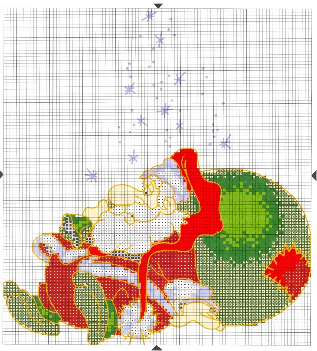 Подборка милых новогодних схем вышивки в детскую копилочку: Дед Мороз