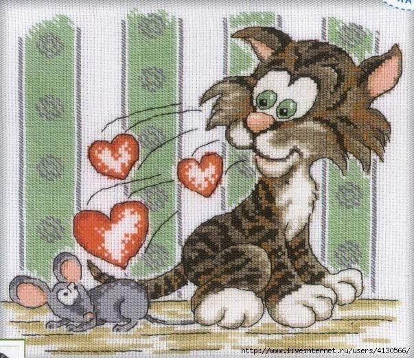 Вышивка с котом и мышкой