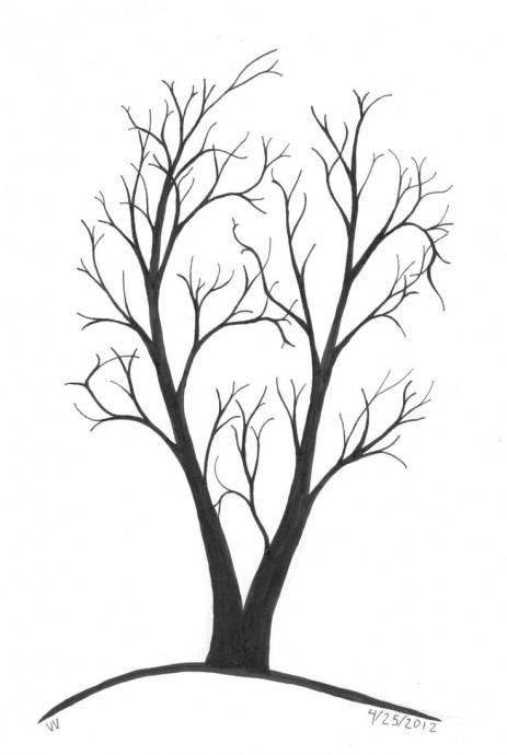 Рисуем листву дерева отпечатками пальцев 7