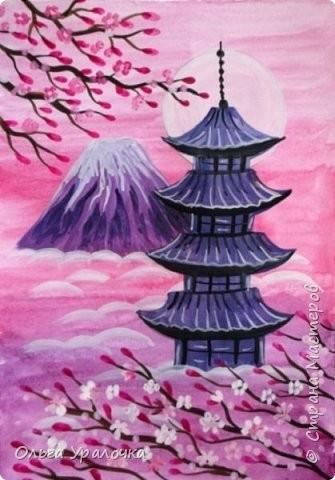 Рисуем пейзаж в японском стиле