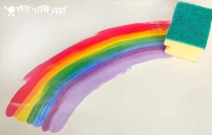 Рисование радуги ватой и губкой