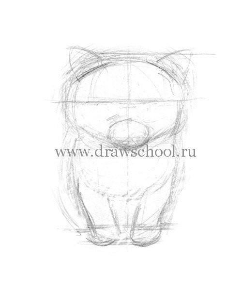 Рисуем простым карандашом милого котёнка 3