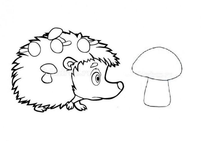 Спрячь и найди ежика и грибочек в травке