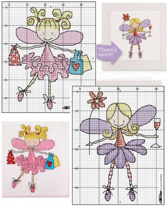 Маленькие феи: большая подборка схем для детской вышивки