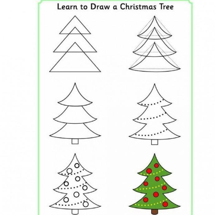 Как нарисовать пушистую ёлку цветными карандашами или фломастерами
