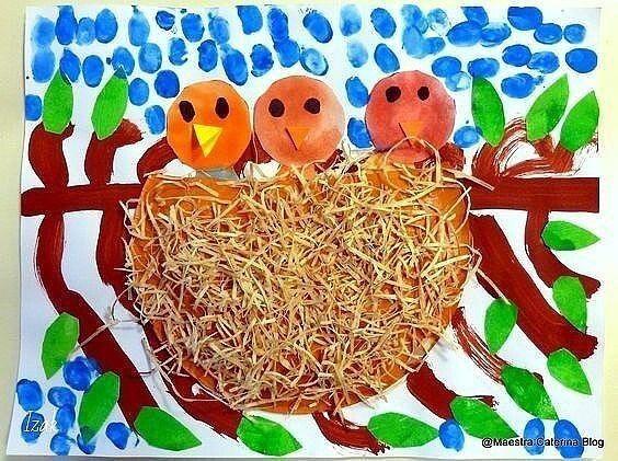 Птички в гнездышках: идеи для детского творчества