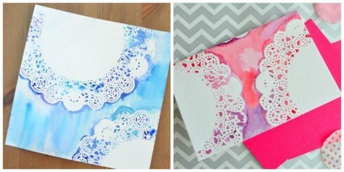 Рисуем с детьми картину с помощью ажурных салфеток и разноцветных красок