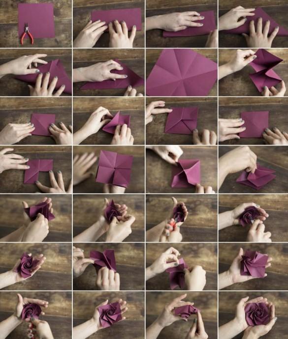 Делаем розу оригами