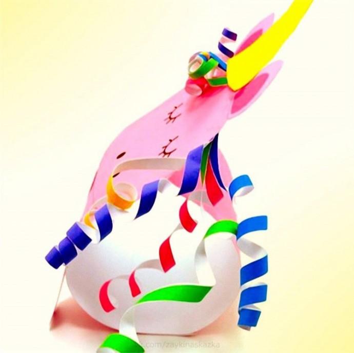 Единорожик из цветной бумаги